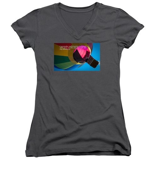 I Surrender And Trust Women's V-Neck T-Shirt (Junior Cut) by Patrice Zinck