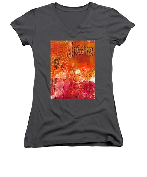 I Too Have A Dream Women's V-Neck T-Shirt (Junior Cut) by Angela L Walker