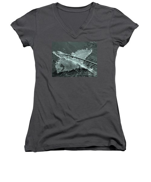 Women's V-Neck T-Shirt (Junior Cut) featuring the photograph Ice-bird On The River by Nina Silver