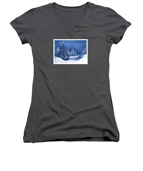 Women's V-Neck T-Shirt (Junior Cut) featuring the digital art Icy Blue by Scott Ross