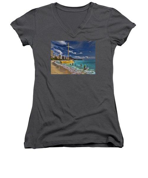 Idyllic Waikiki Beach Women's V-Neck T-Shirt