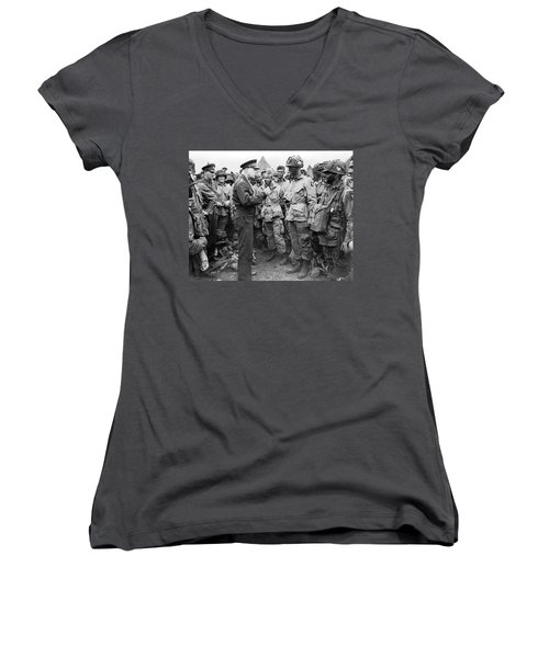 Ike With D-day Paratroopers Women's V-Neck (Athletic Fit)