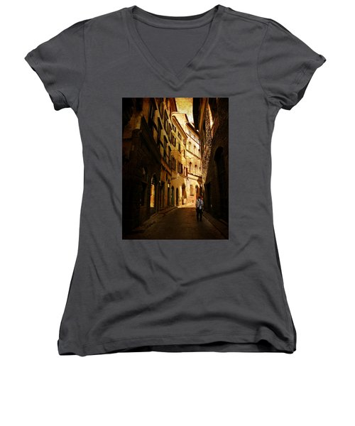 Women's V-Neck T-Shirt (Junior Cut) featuring the photograph Il Turista by Micki Findlay