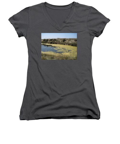 Women's V-Neck T-Shirt (Junior Cut) featuring the photograph Ile De Re - Marshes by HEVi FineArt