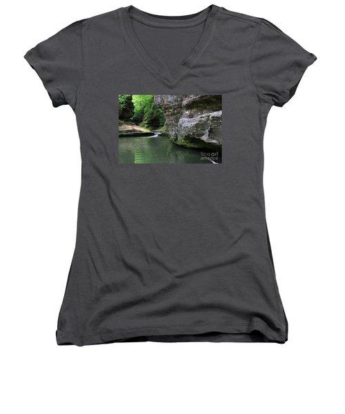 Women's V-Neck T-Shirt (Junior Cut) featuring the photograph Illinois Canyon May 2014 by Paula Guttilla
