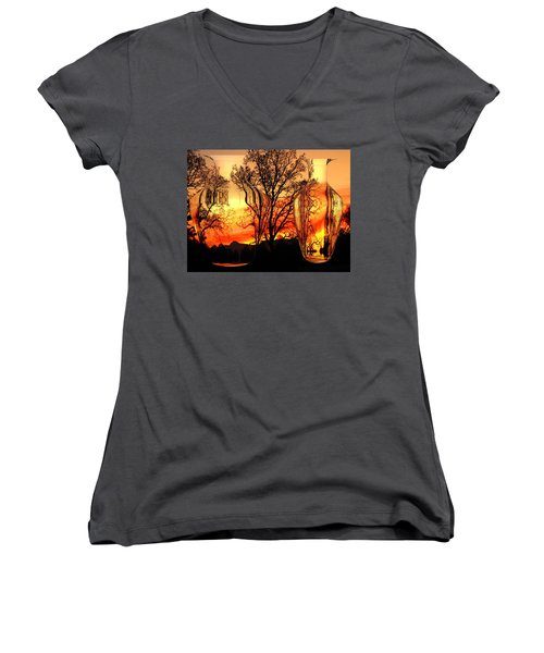 Women's V-Neck T-Shirt (Junior Cut) featuring the photograph Illusion by Joyce Dickens