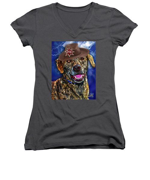 Women's V-Neck featuring the digital art I'm A Canine Community Reporter by Kathy Tarochione