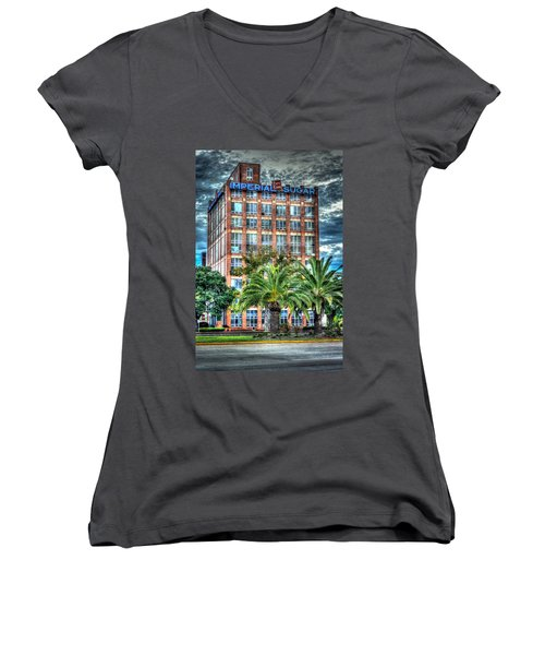 Imperial Sugar Factory Daytime Hdr Women's V-Neck T-Shirt