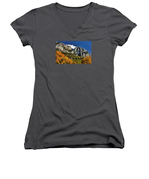 Imposing Seneca Rocks - Seneca Rocks National Recreation Area Wv Autumn Mid-afternoon Women's V-Neck (Athletic Fit)