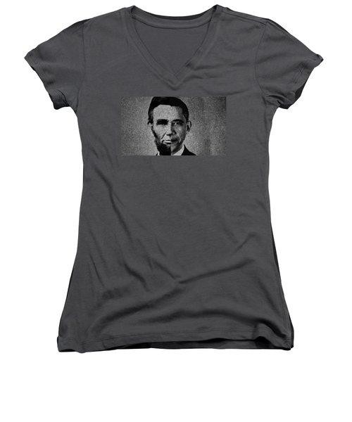 Impressionist Interpretation Of Lincoln Becoming Obama Women's V-Neck