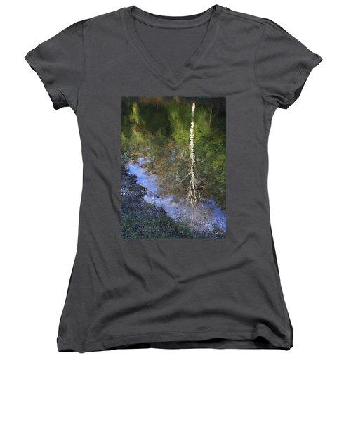 Impressionist Reflections Women's V-Neck T-Shirt (Junior Cut) by Patrice Zinck