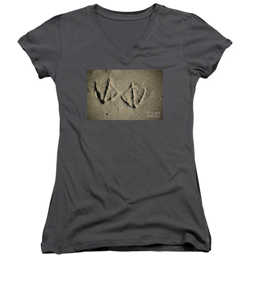 Women's V-Neck T-Shirt featuring the photograph Imprints by Christiane Hellner-OBrien