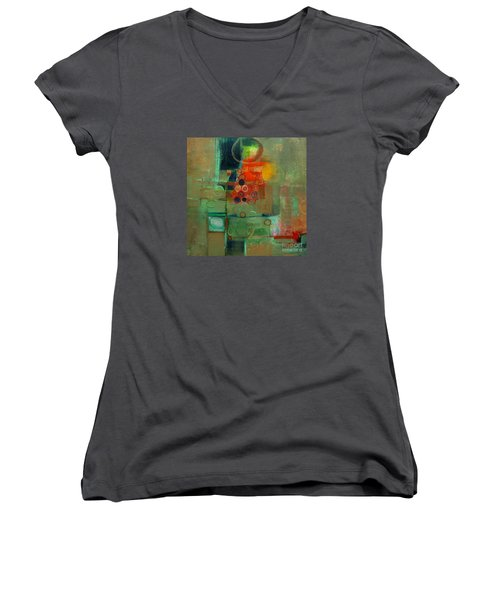 Women's V-Neck T-Shirt (Junior Cut) featuring the painting Improvisation by Michelle Abrams