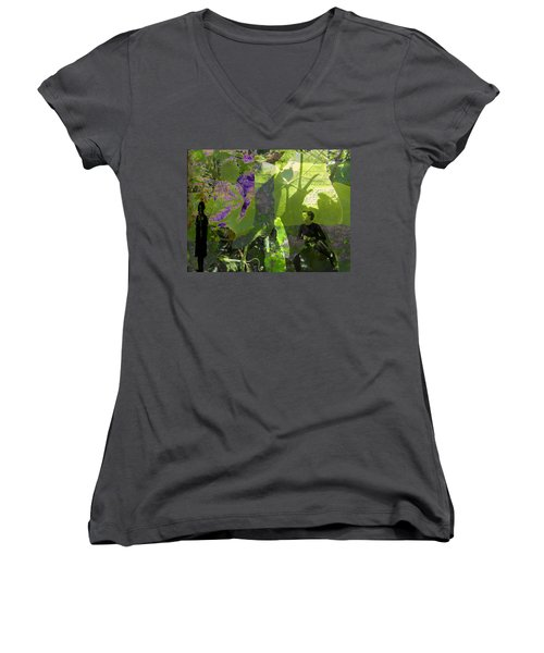 Women's V-Neck T-Shirt (Junior Cut) featuring the digital art In A Dream by Cathy Anderson