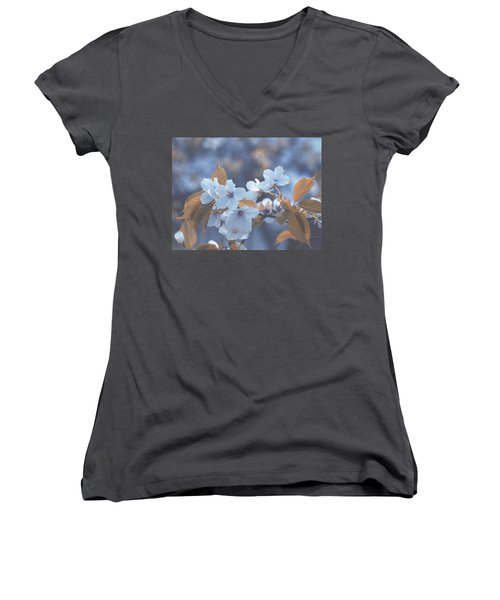 Women's V-Neck T-Shirt (Junior Cut) featuring the photograph In Blue by Rachel Mirror