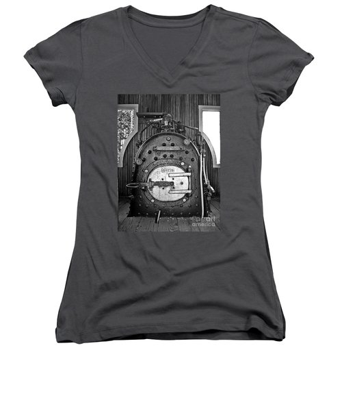 Women's V-Neck T-Shirt (Junior Cut) featuring the photograph In Control B by Sara  Raber