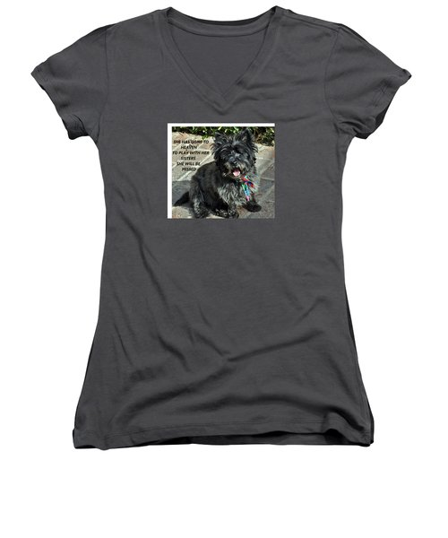 In Memory Of Her Women's V-Neck T-Shirt (Junior Cut) by Jay Milo