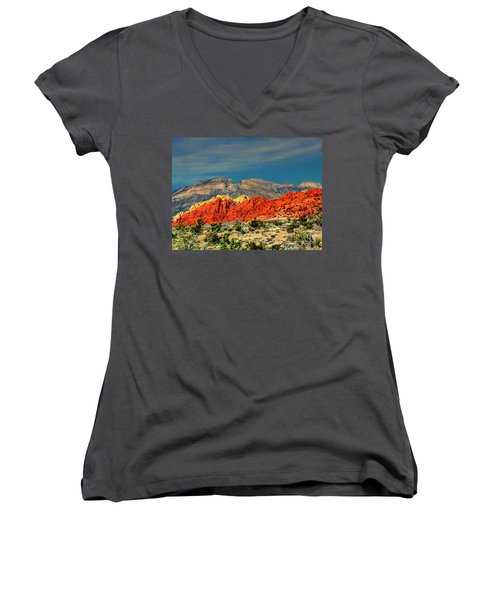 In Red Mountain 1 Women's V-Neck T-Shirt