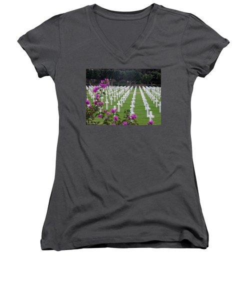 Women's V-Neck T-Shirt (Junior Cut) featuring the photograph In Rememberance by Lucinda Walter
