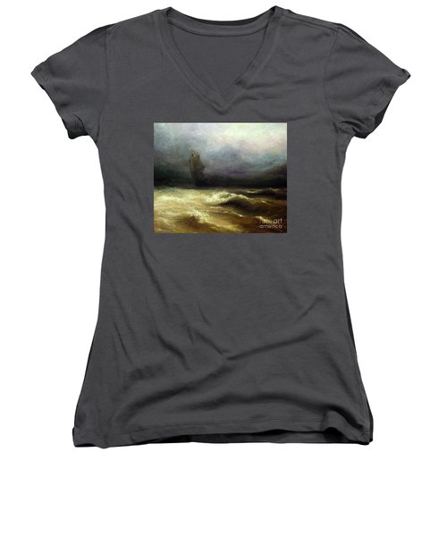 Women's V-Neck T-Shirt (Junior Cut) featuring the painting In Shadow by Mikhail Savchenko