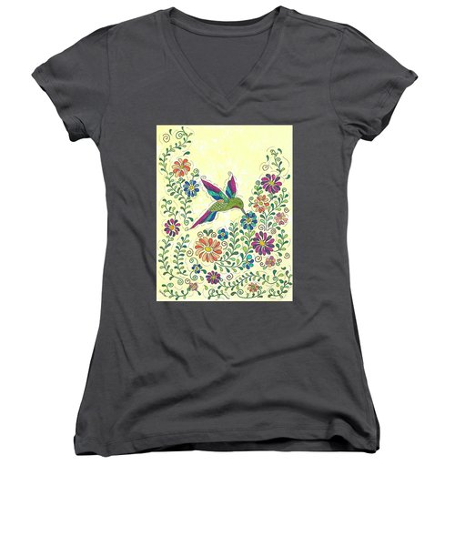Women's V-Neck T-Shirt (Junior Cut) featuring the painting In The Garden - Hummer by Susie WEBER
