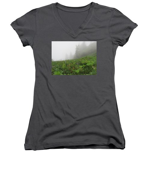 Women's V-Neck T-Shirt (Junior Cut) featuring the photograph In The Mist - 1 by Pema Hou