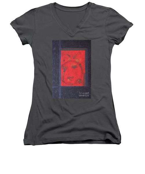 Women's V-Neck T-Shirt (Junior Cut) featuring the painting In The Night Sky by Mini Arora