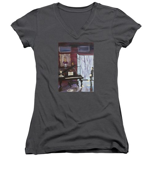 Women's V-Neck T-Shirt (Junior Cut) featuring the painting In The Still Of The Night by Alan Lakin