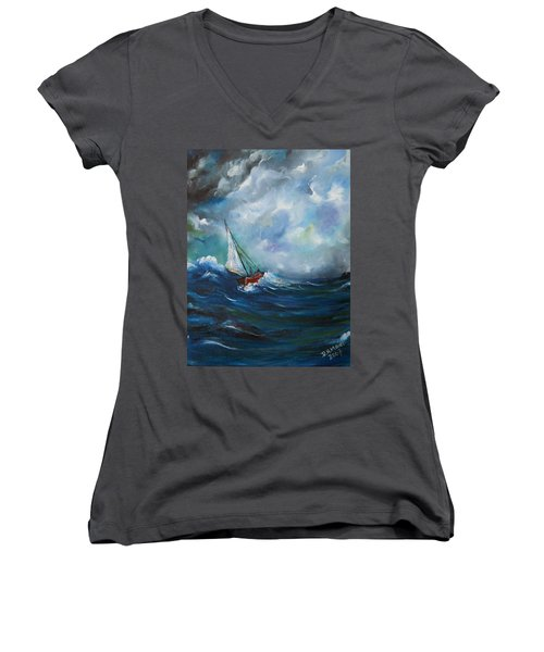 In The Storm Women's V-Neck T-Shirt (Junior Cut) by Dorothy Maier