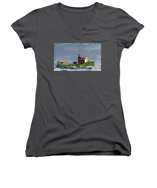 Women's V-Neck T-Shirt (Junior Cut) featuring the painting In Tow by Molly Poole