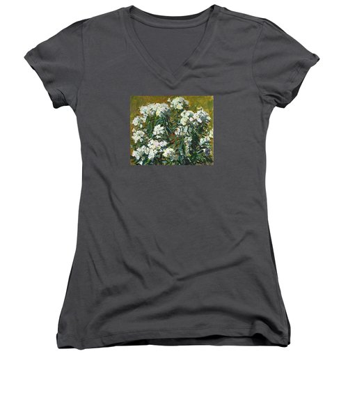 In White Dress Women's V-Neck T-Shirt