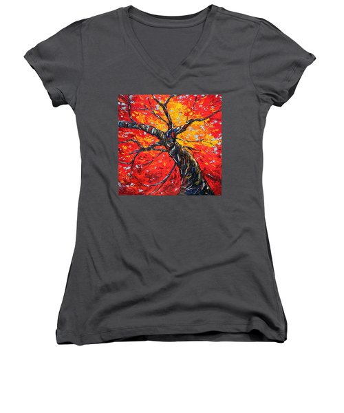 Women's V-Neck T-Shirt (Junior Cut) featuring the painting In Your Light by Meaghan Troup