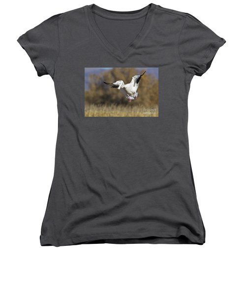 Women's V-Neck T-Shirt (Junior Cut) featuring the photograph Incoming Snow Goose by Bryan Keil