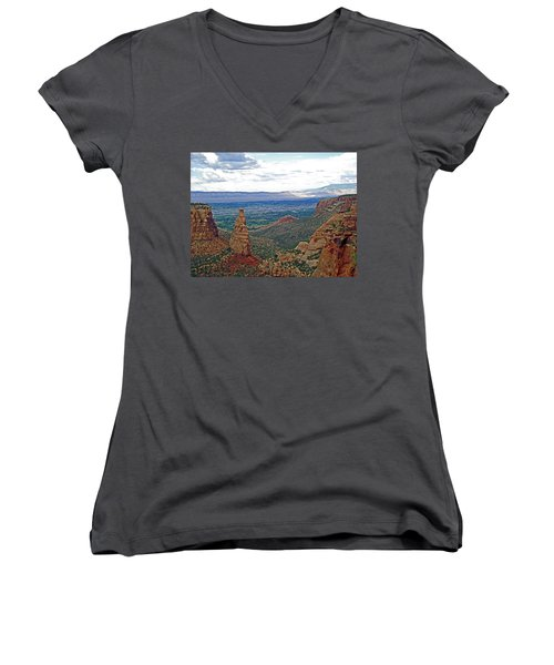 Independence Monument In Colorado National Monument Near Grand Junction-colorado Women's V-Neck T-Shirt