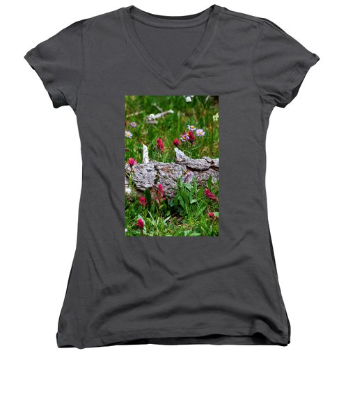 Women's V-Neck T-Shirt (Junior Cut) featuring the photograph Indian Paintbrush by Ronda Kimbrow