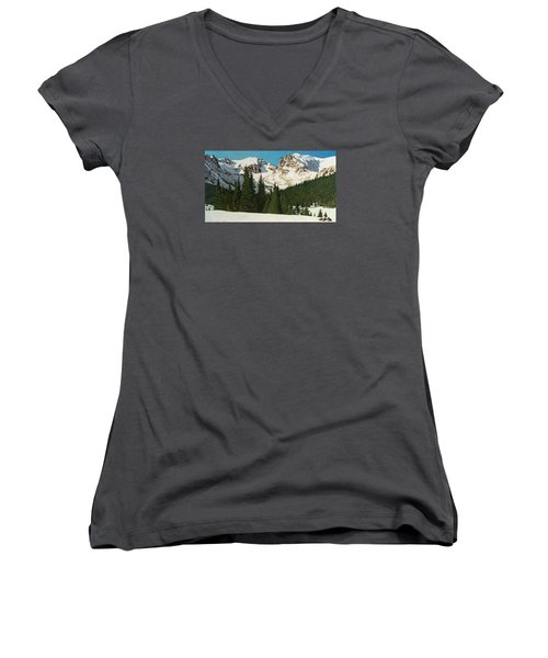 Indian Peaks Winter Women's V-Neck T-Shirt (Junior Cut) by Dan Miller
