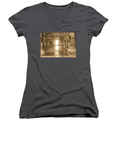Women's V-Neck T-Shirt (Junior Cut) featuring the photograph Indian Temple by Mini Arora