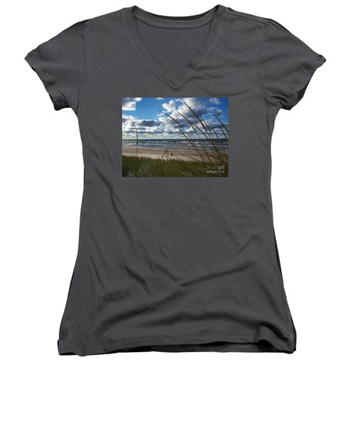 Indiana Dunes' Lake Michigan Women's V-Neck (Athletic Fit)