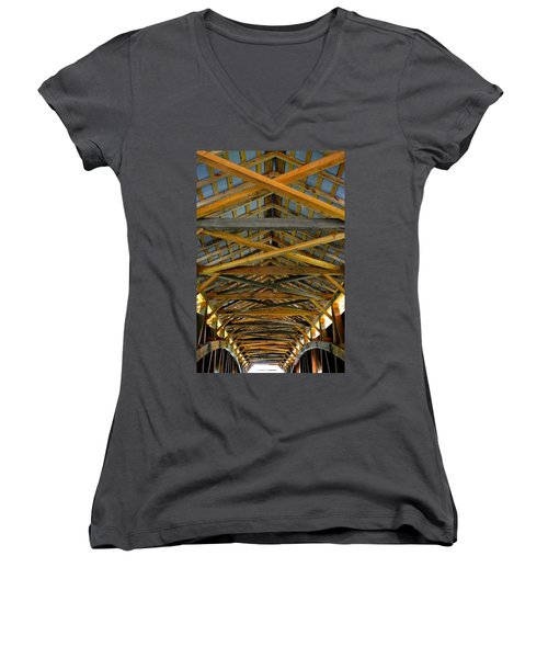 Inside A Covered Bridge 3 Women's V-Neck