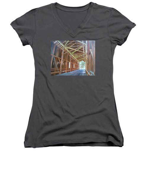 Women's V-Neck T-Shirt (Junior Cut) featuring the painting Inside Felton Covered Bridge by LaVonne Hand