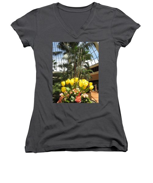 Women's V-Neck T-Shirt (Junior Cut) featuring the photograph Interior Decorations Butterfly Gardens Vegas Golden Yellow Tulip Flowers by Navin Joshi