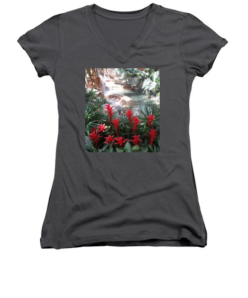 Women's V-Neck T-Shirt (Junior Cut) featuring the photograph Interior Decorations Water Fall Flowers Lights Shades by Navin Joshi