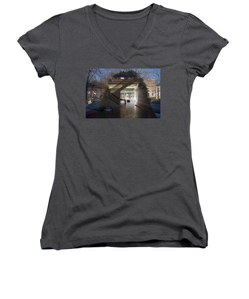 Interior Reflection Women's V-Neck T-Shirt (Junior Cut) by Melinda Fawver