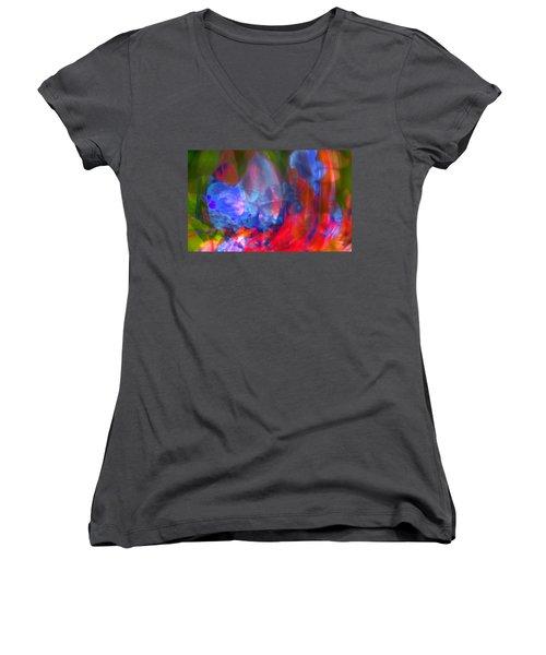 Women's V-Neck T-Shirt (Junior Cut) featuring the digital art Interior by Richard Thomas