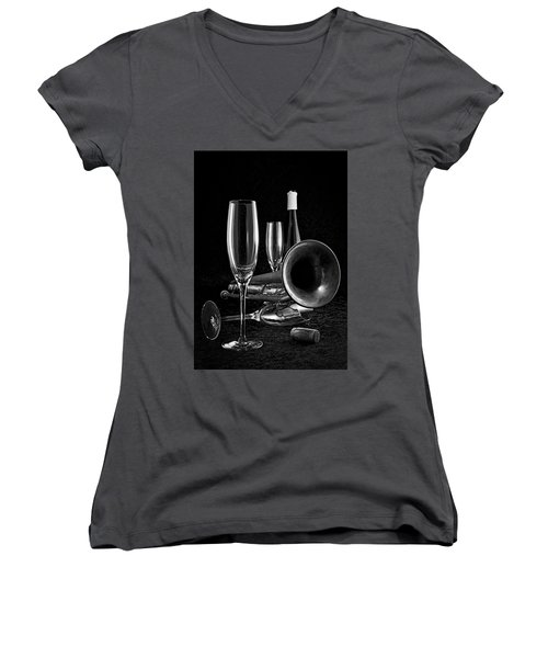 Women's V-Neck T-Shirt (Junior Cut) featuring the photograph Intermission Riff by Elf Evans