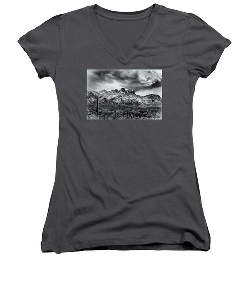 Women's V-Neck T-Shirt (Junior Cut) featuring the photograph Into Clouds by Mark Myhaver