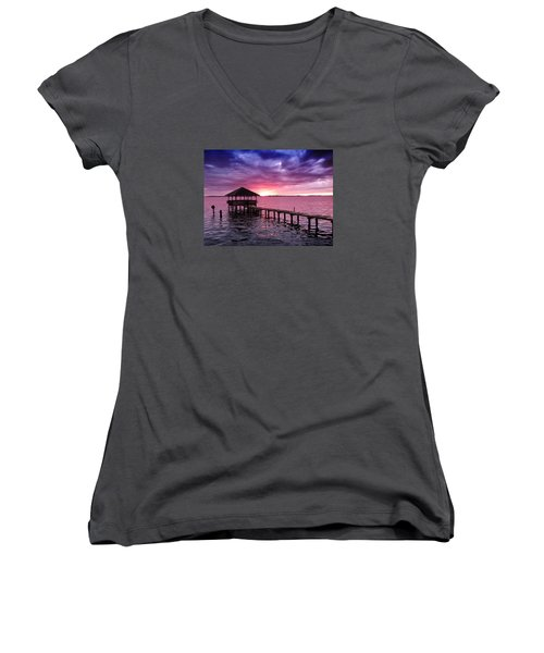 Into The Horizon Women's V-Neck T-Shirt (Junior Cut) by Rebecca Davis