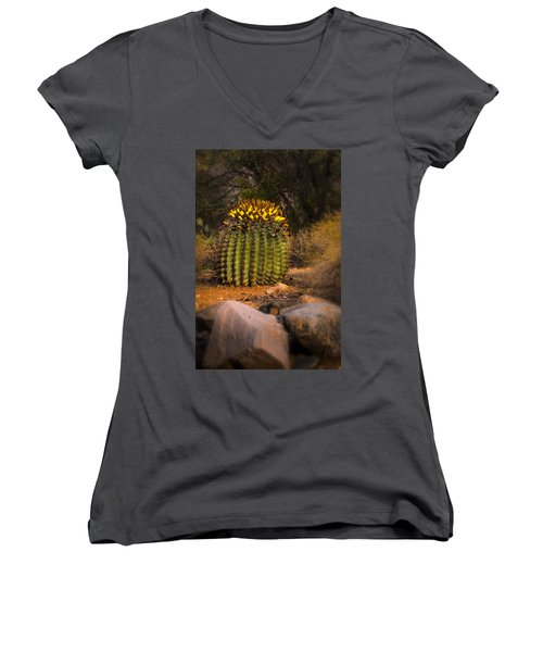 Women's V-Neck T-Shirt (Junior Cut) featuring the photograph Into The Prickly Barrel by Mark Myhaver