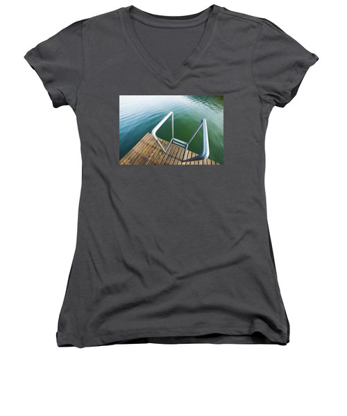Women's V-Neck T-Shirt (Junior Cut) featuring the photograph Into The Water by Chevy Fleet