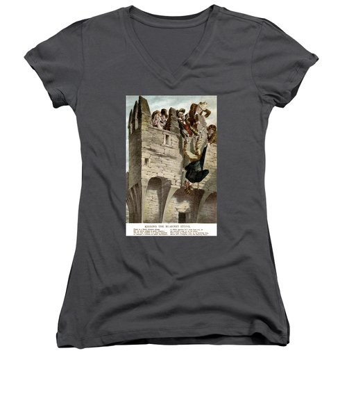 Women's V-Neck T-Shirt (Junior Cut) featuring the painting Ireland The Blarney Stone by Granger